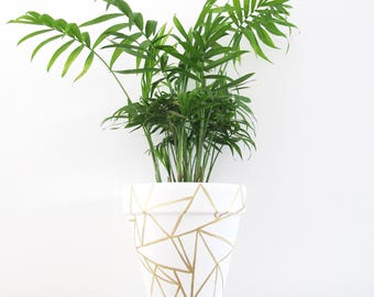 Hand Painted Plant Pot - Shattered Gold Large
