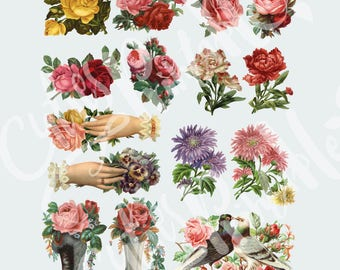 Retro Rose Collage Sheet - DOWNLOAD - scrapbooking craft - Retro Rose - Vintage Rose isolated on white background • Individual PNG & PDF