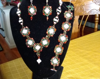 Beaded Unique, OOAK, Handmade, Beadwoven, Green, White and Bronze Necklace, Bracelet and Earrings Set