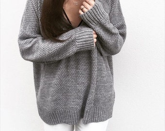 the deep V in Grey -knitted sweater (oversized deep V wool mix pullover)