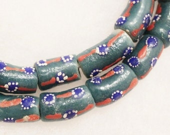 African Powder Glass Beads Made in Ghana, 10 Krobo Beads (B9)