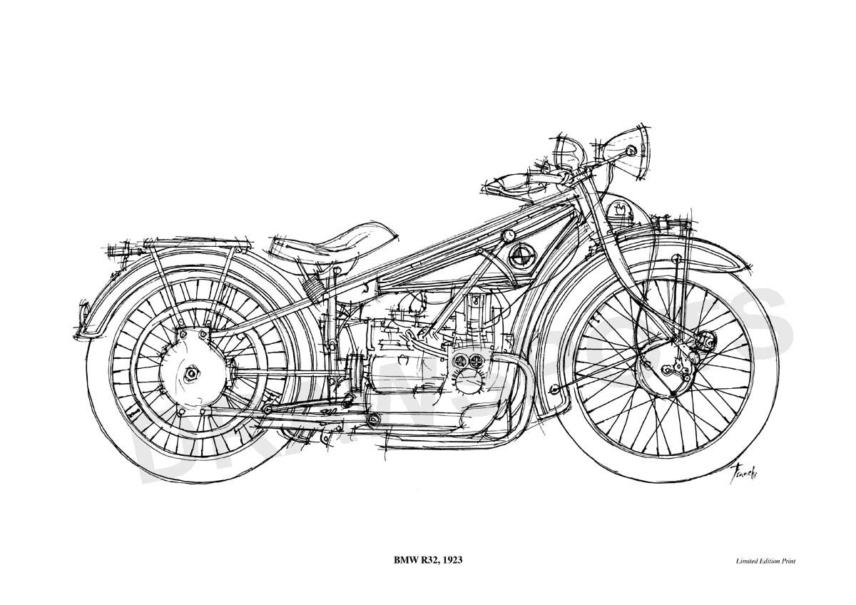 Bmw R32 1923 Original Handmade Drawing Print 11 5x16 In