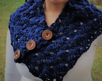 Hand knit navy blue scarf with wooden buttons