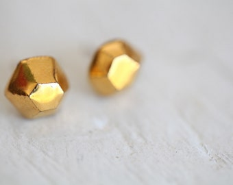 Léna , porcelain and gold earrings, glazed .Porcelain jewelry