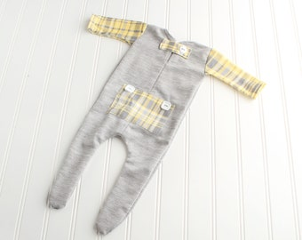 Jack - newborn long john footie pajama romper in heather grey with yellow, grey, slate and white plaid bum flap, sleeves and pocket (RTS)
