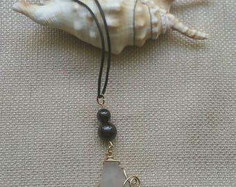 Sun colored amethyst lavender sea glass garnet pendant