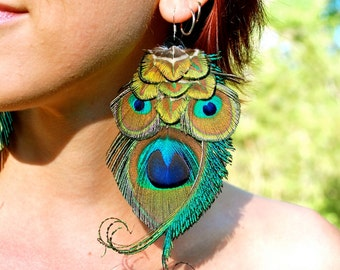 OWL SPIRIT Peacock Feather Earrings