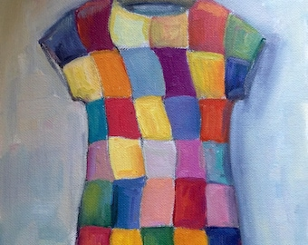 Checkered dress oil painting 10 x 8""