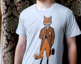Fox Shirt - Animal Tshirt - Men's Shirt - The Dapper Fox Graphic Tee - Animal Art