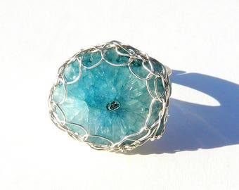 Sterling Silver made in France blue color Quartz ring. Mothers day gift