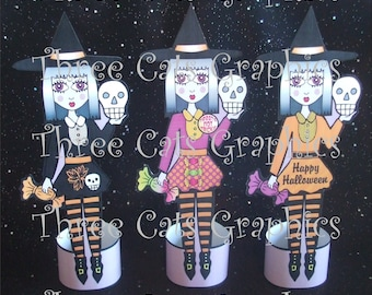 Lilura the Eggplant Purple Witch 3 Halloween Paper Dolls or Decorations Digital Download - PDF