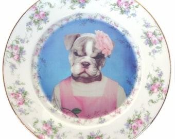 "Becky Bulldog Portrait Plate 7.5"""