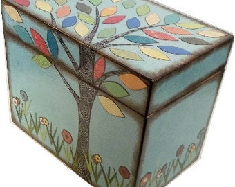 Recipe Box, Decorative Box, Couples Gift, Bridal Shower, Bridal Gift, Decorative Box, Colorful Tree Wedding, Holds 5x7 Cards, MADE TO ORDER