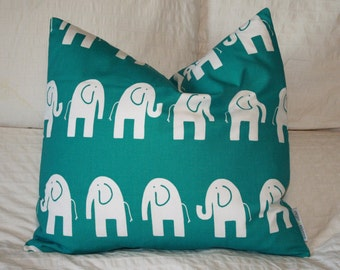 """20"""" x 20"""" Square Pillow Cover - Teal and White Elephants Ele, Cushion Cover, Throw Pillow, Premier Prints, Nursery, Home, Baby Pillow"""