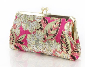 Gold Thread Brocade Clutch Bag in Fuchsia | Travel Wallet | honeymoon