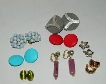 8 x Pairs Of Vintage Clip On Style Earrings Bundle
