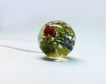 real flowers flowers * luck * resin necklace flowers (0089/G)