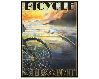 Bicycle Vermont Travel Poster