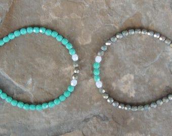 Mint Green Bracelet - Dainty Bracelet for Her - Teal Minimalist Bracelet - Delicate Bracelet for Women - Simple Bracelet - Everyday Bracelet