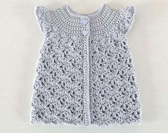 Organic Cotton Baby Crochet Cardigan in Purple, Eco-Friendly, Fair Trade, Custom Made Size 6 months
