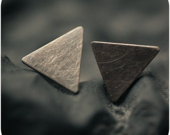 Dark Triangle Stud Earrings in Sterling Silver