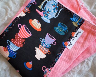 Baby burp cloth - tea party coral pink hand dyed burp cloth