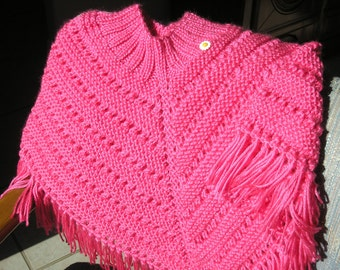 Knitted Poncho, Girls Medium - Bright Pink