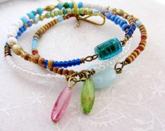 Set of 3 Multicolor bangle bracelets, Three colorful boho bangle, beaded bracelets, summer vibe bangles
