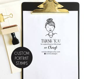 custom PORTRAIT stamp -  small business thank you stamp - social media stamp - business stamp - custom branding stamp - choose your size