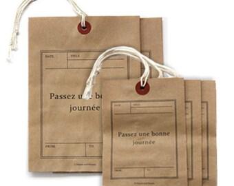 5 Passez une Bonne Journee Kraft Tag Envelopes (4.5 x 6.3in)