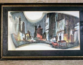 Mid Century Modern Framed Cityscape Abstract Print Amoroso