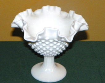 Fenton White Hobnail Milk Glass 5 1/2 Inch Double Crimped Compote, Candy, Relish, Dips, Cocktail Sauce