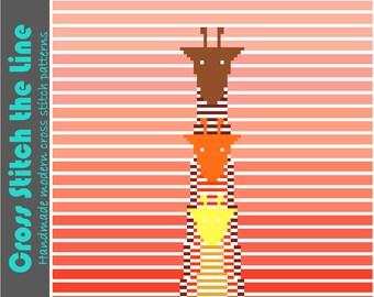 Beautiful contemporary cross stitch pattern. Minimalist embroidery chart. Modern original design. 'Giraffes at sunrise'