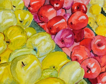 Watercolor Apple Painting: Still Life of Green, Red, and Yellow Apples, Original Wall Art, Fruit Kitchen Decor, Grocery Store Artwork