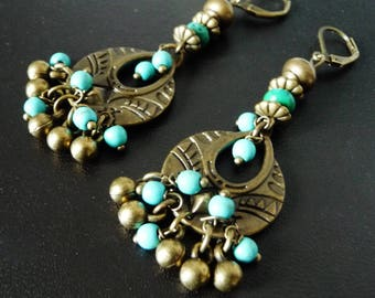 Earrings Bohemian, ethnic, gypsy bronze metal, turquoise, howlite, bells