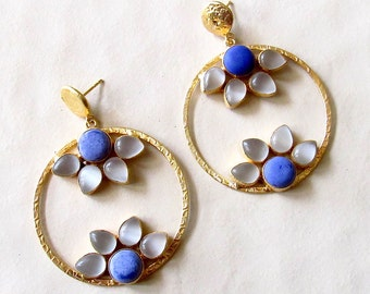 Natural Lapis Floral Hoop Earrings/Gold Hammered Hoop Earrings/Dangle Earrings/Statement Earring - Fashion Earrings for Women
