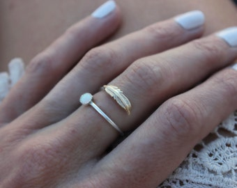 Opal ring, feather ring, Sterling silver ring, stacking ring, midi ring, stackable ring