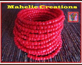 Red bracelet for her, chunky bracelet, statement bracelet, boho bracelet for women, casual bracelet for her, wrap bracelet