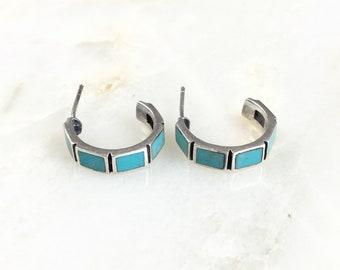 Vintage Sterling Turquoise Hoop Earrings