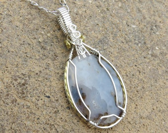 S-144 Graveyard Point Plume Agate Pendant Necklace, Agate Necklace, Agate Pendant, Agate Jewelry, 925 Pendant, Wire Wrapped Pendant