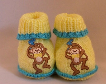 Hand Knit Baby Booties Yellow with Turquoise Trim and Monkey Appliques Size 3-6 months