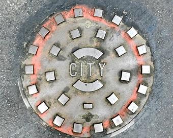 Industrial Art, Manhole Cover Urban Art Print, Street Art, City Street Photography, Industrial Wall Art,Philadelphia Photography,Urban Decor