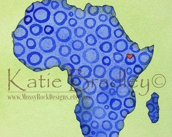 "NEW I love Ethiopia ""blue dots"" 5x7 print"