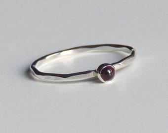 Garnet Ring Sterling Silver Stacking Ring Red Stone Ring