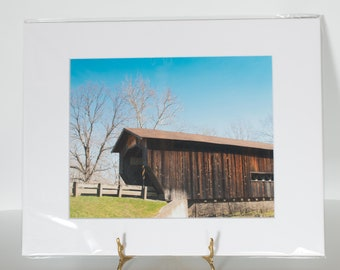 Matted Ready to Frame 8x10 Benetka Covered Bridge Photo Print - 11x14 Final Size - Covered Bridge Photo - Covered Bridge Art