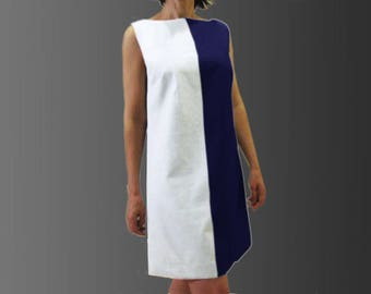 LINEN trapeze dress colorblock