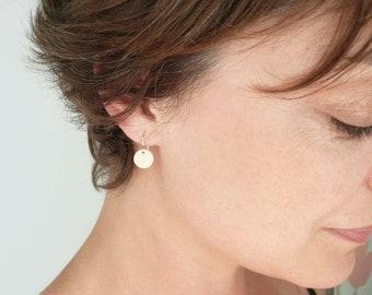 Little gold drop earrings Gold circle earrings Gold dot earrings Small gold earrings Tiny earrings Gold coin earrings. 14K gold fill Gift