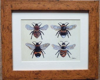 Bee Wall Art Bumble Bee Print Bee Print Bee Picture Bee Illustrative Wall Art- 'Four Bees On Canvas' a favourite among bee fans,great gift