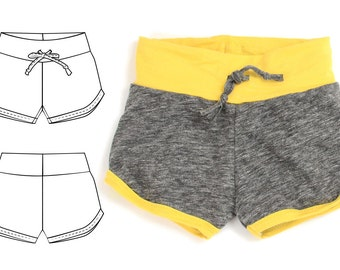 Kids shorts pdf pattern // retro hem style // 0M - 6T // photo tutorial // #20
