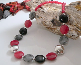 Red Rabbit Jade, Tormalinated  Quartz and Black Onyx with Sterling Silver Findings.